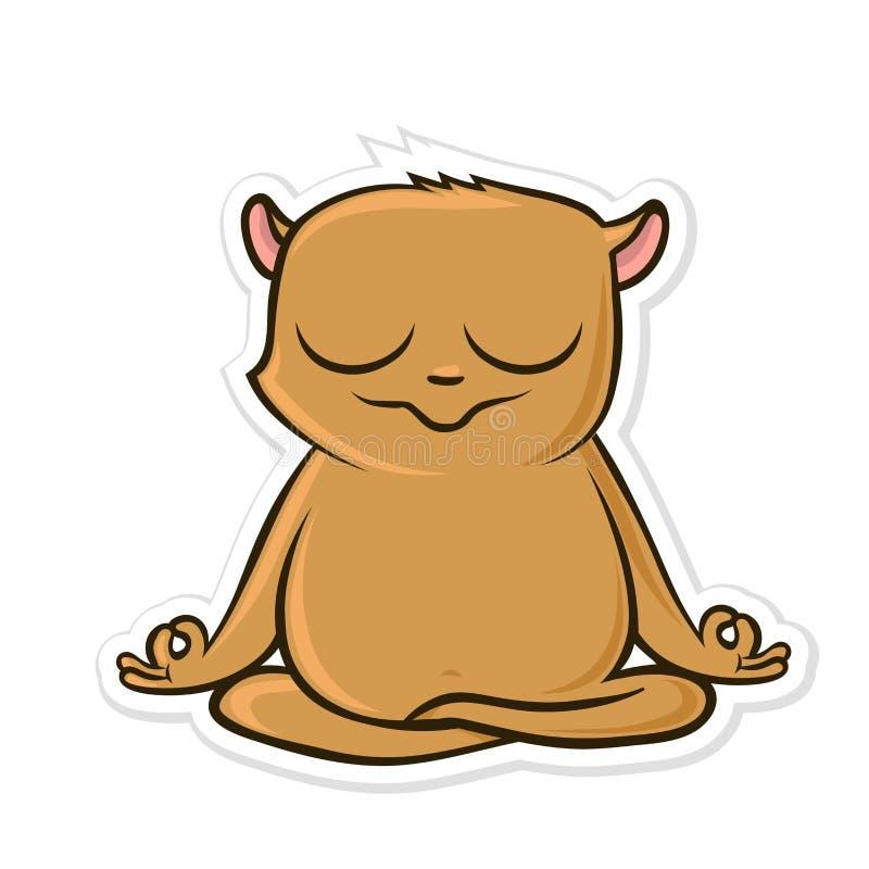 Etiqueta engomada para el mensajero con el animal divertido Yoga practicante del hámster, sentándose en la posición de Lotus Ilus ilustración del vector