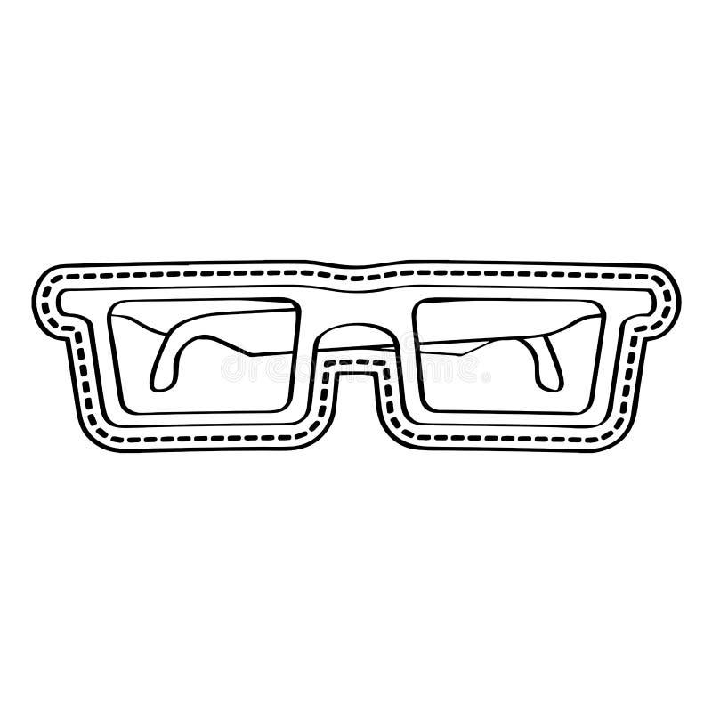 Etiqueta engomada punteada icono de los vidrios stock de ilustración