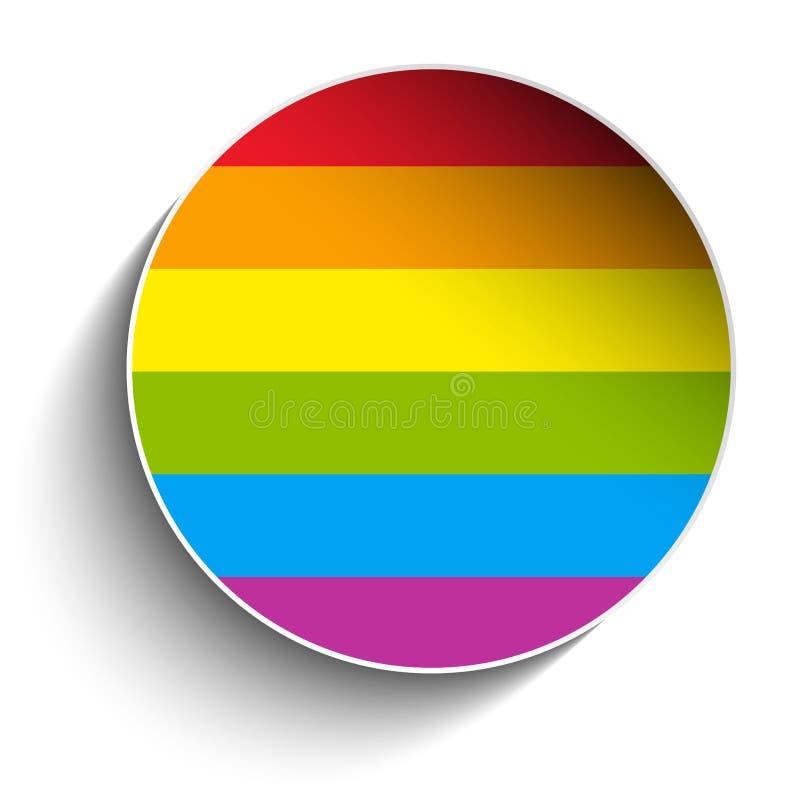 Etiqueta engomada rayada del círculo gay de la bandera ilustración del vector