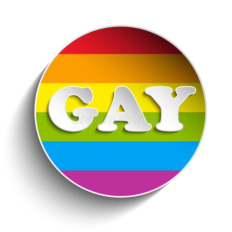 Etiqueta engomada rayada del círculo gay de la bandera stock de ilustración