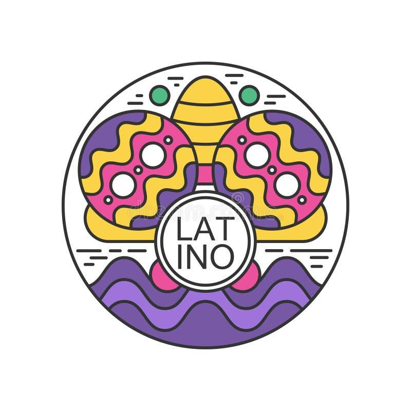 Etiqueta engomada redonda creativa con maracas y el sombrero Festival del Latino Emblema colorido del extracto popular de la cele libre illustration