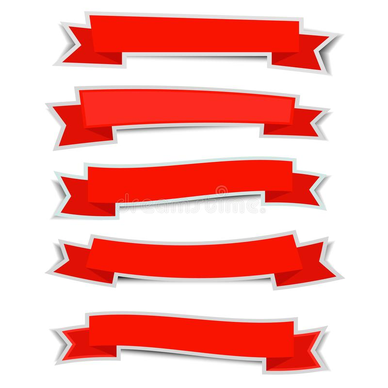 Etiqueta engomada roja de las banderas de la cinta con la sombra en el fondo blanco ilustración del vector
