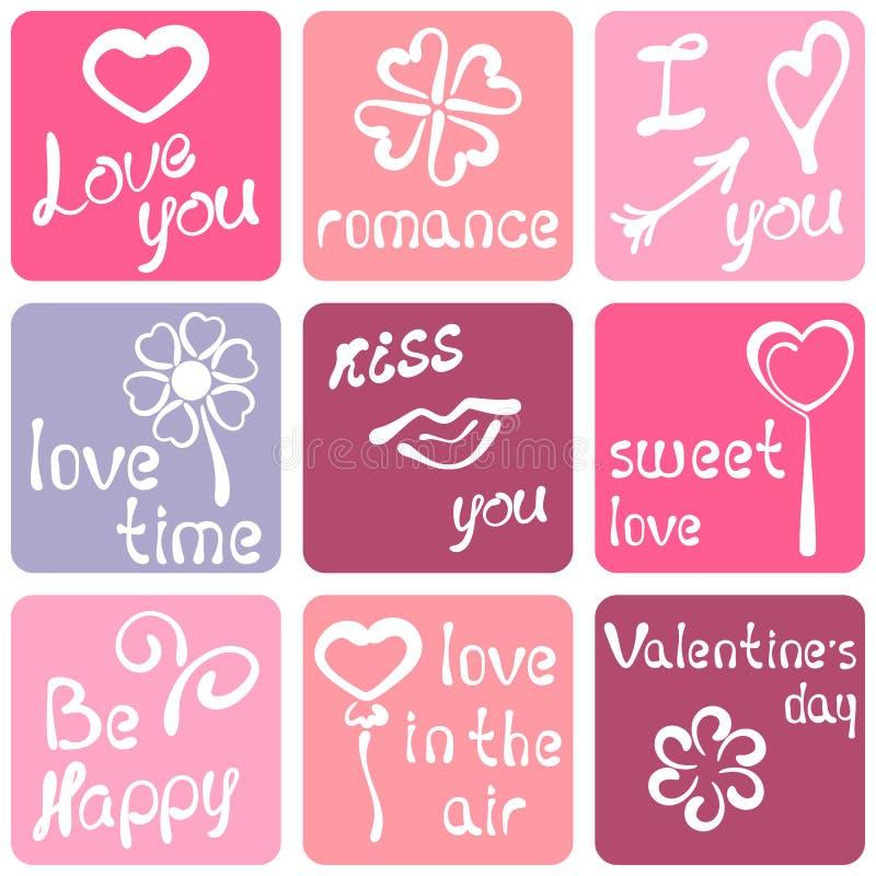 Etiqueta engomada romántica stock de ilustración