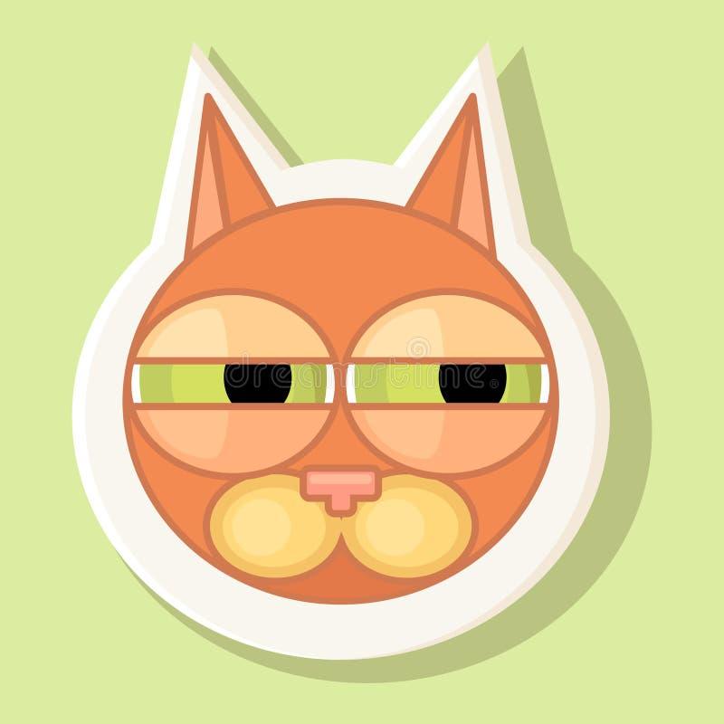 Etiqueta engomada volumétrica con el gato representado Emoción de la sospecha foto de archivo