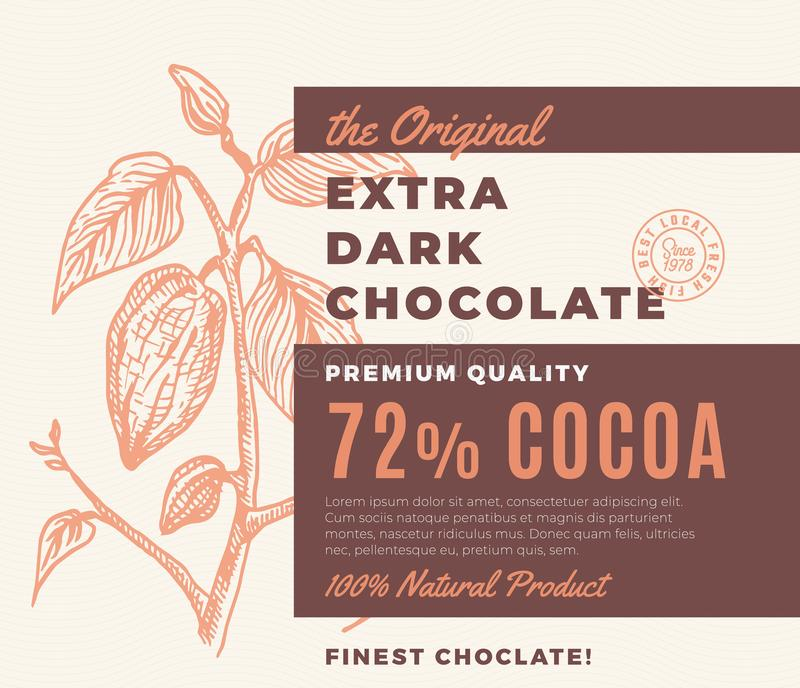 A etiqueta escura extra original do projeto do vetor do sumário do chocolate Tipografia moderna e ramo tirado mão do cacau com ilustração stock