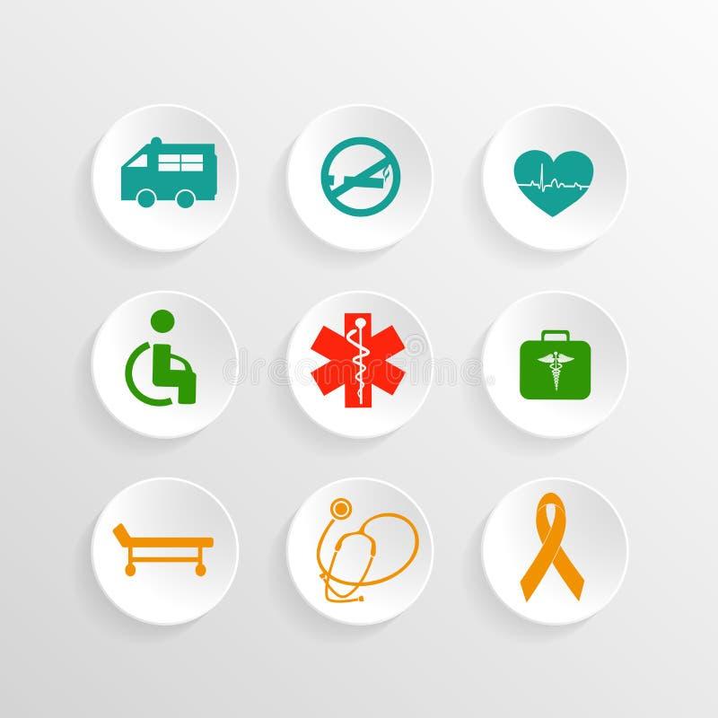 Etiqueta, etiqueta e etiqueta com sinais e símbolos médicos ilustração royalty free