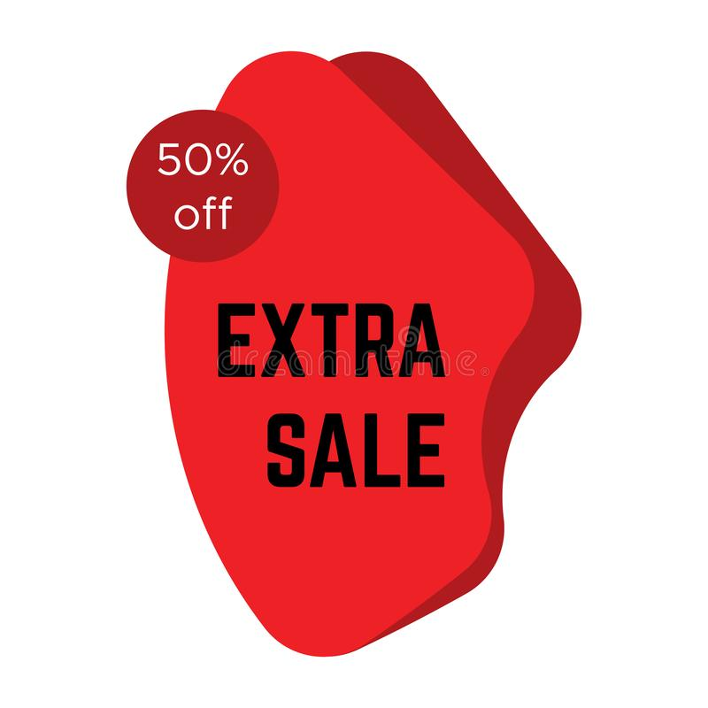 Etiqueta extra vermelha da venda com texto ilustração royalty free