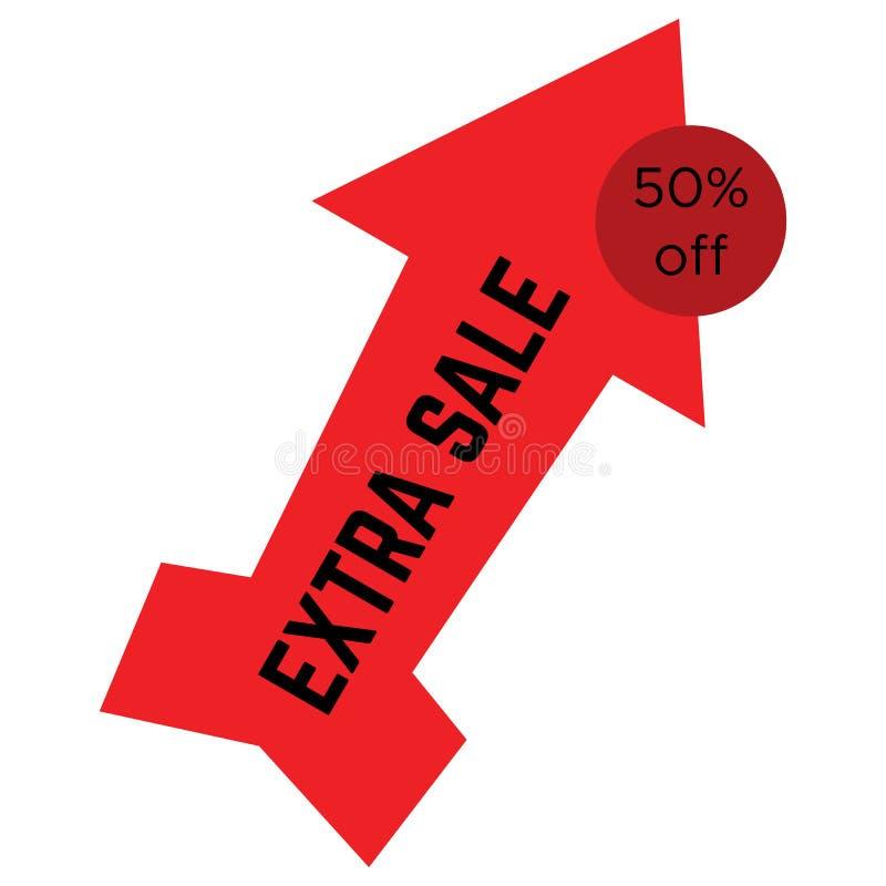 Etiqueta extra vermelha da venda sob a forma de uma seta ilustração stock