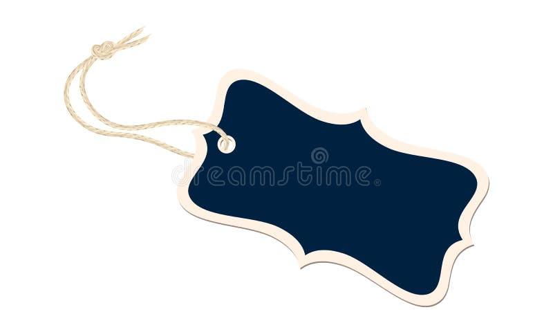 Etiqueta extravagante do presente com nó de linho realístico da corda ilustração royalty free