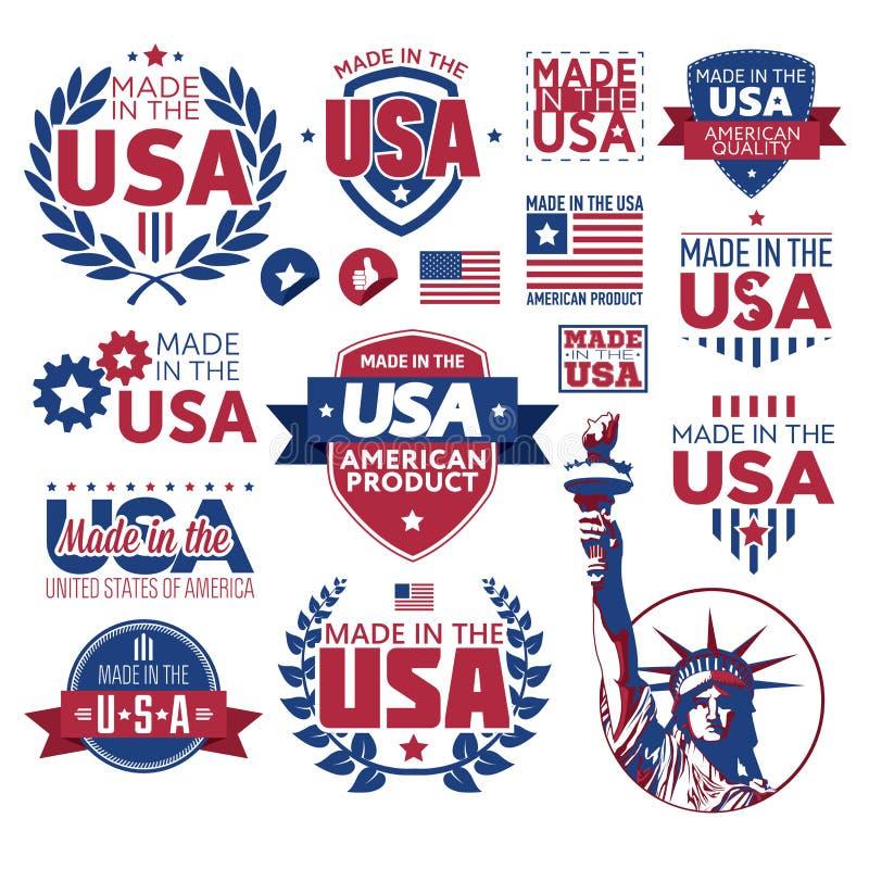 Etiqueta feita nos EUA ilustração do vetor