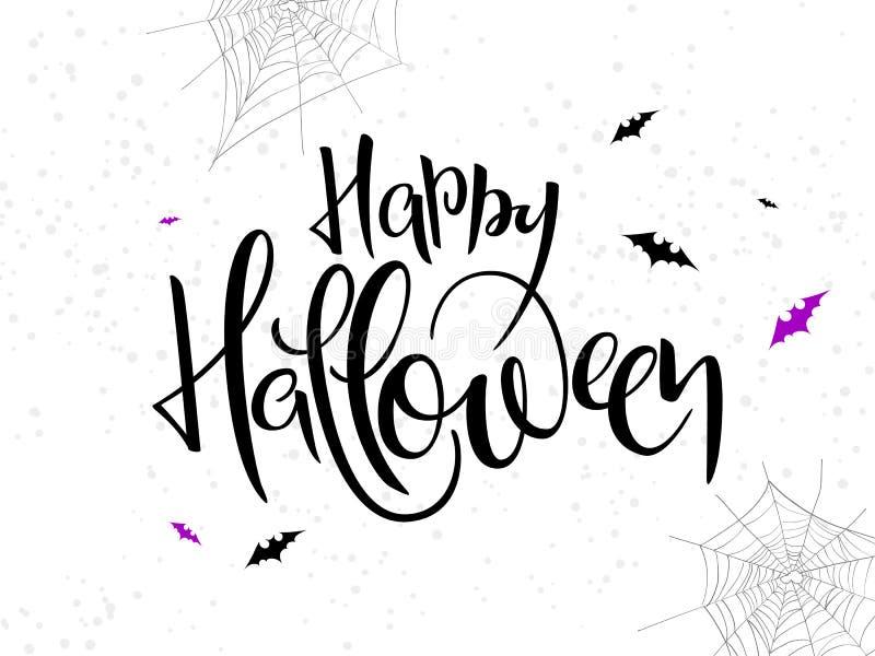 Etiqueta feliz da rotulação da mão do Dia das Bruxas do feriado do vetor com bastão, Web de aranha e pontos ilustração stock