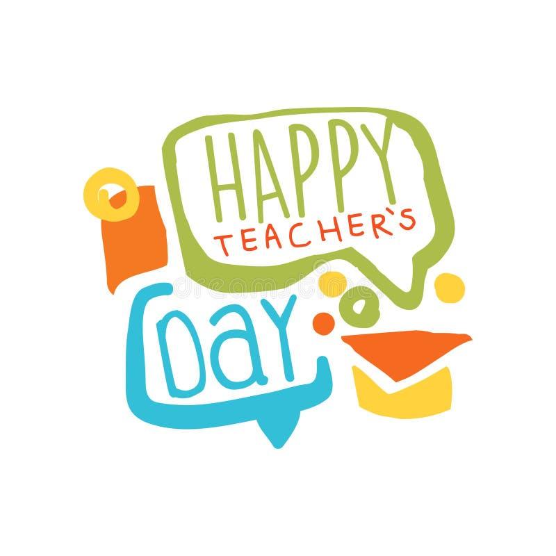 Etiqueta feliz do dia dos professores com bolhas do discurso e o tampão graduado ilustração royalty free