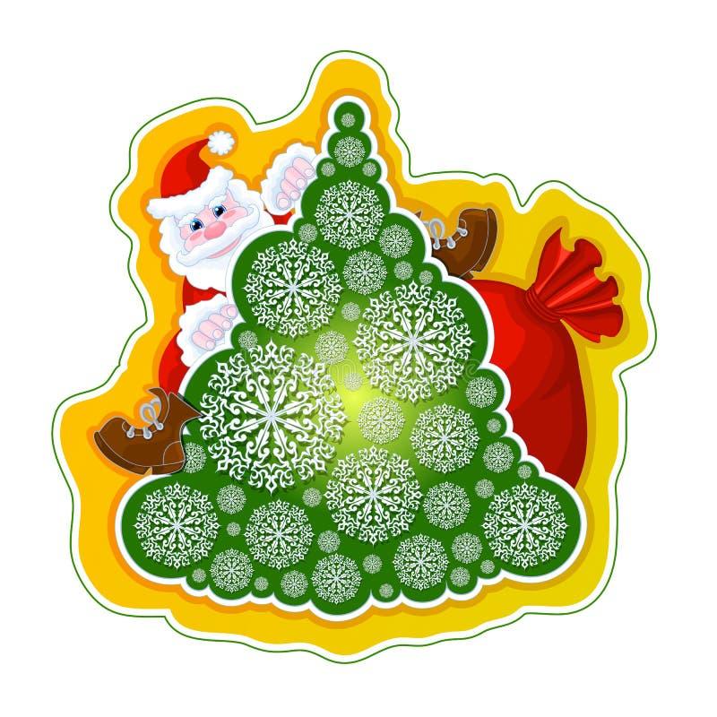Etiqueta festiva do vetor Santa Claus na árvore de Natal de flocos de neve a céu aberto e em um saco dos presentes em um fundo am ilustração do vetor