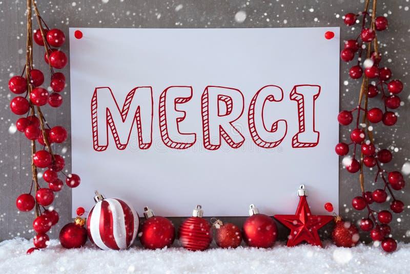 A etiqueta, flocos de neve, bolas do Natal, meios de Merci agradece-lhe fotos de stock royalty free