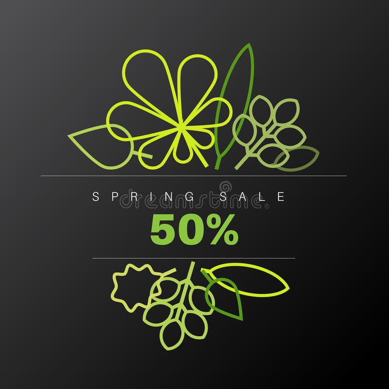 Etiqueta floral abstrata da venda do fundo da mola ilustração do vetor