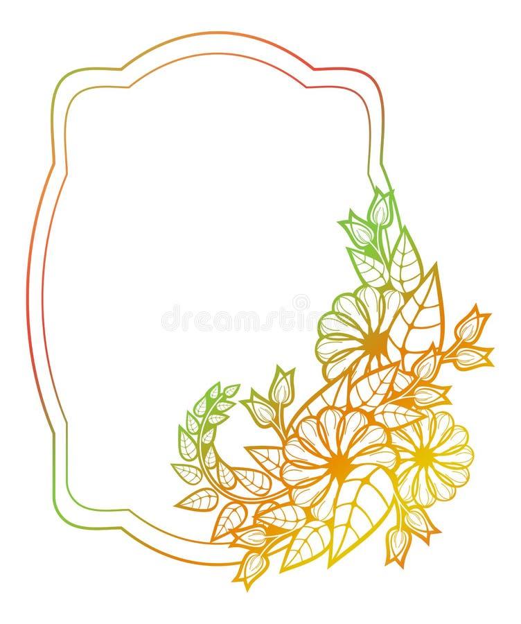 Etiqueta floral hermosa con el terraplén de la pendiente Clip art de la trama libre illustration