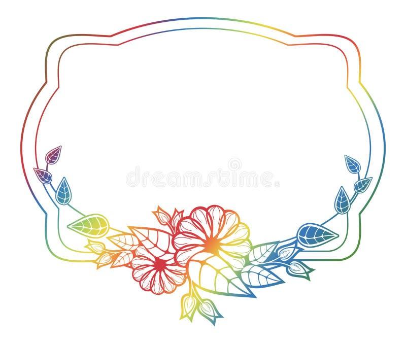 Etiqueta floral hermosa con el terraplén de la pendiente Clip art de la trama stock de ilustración