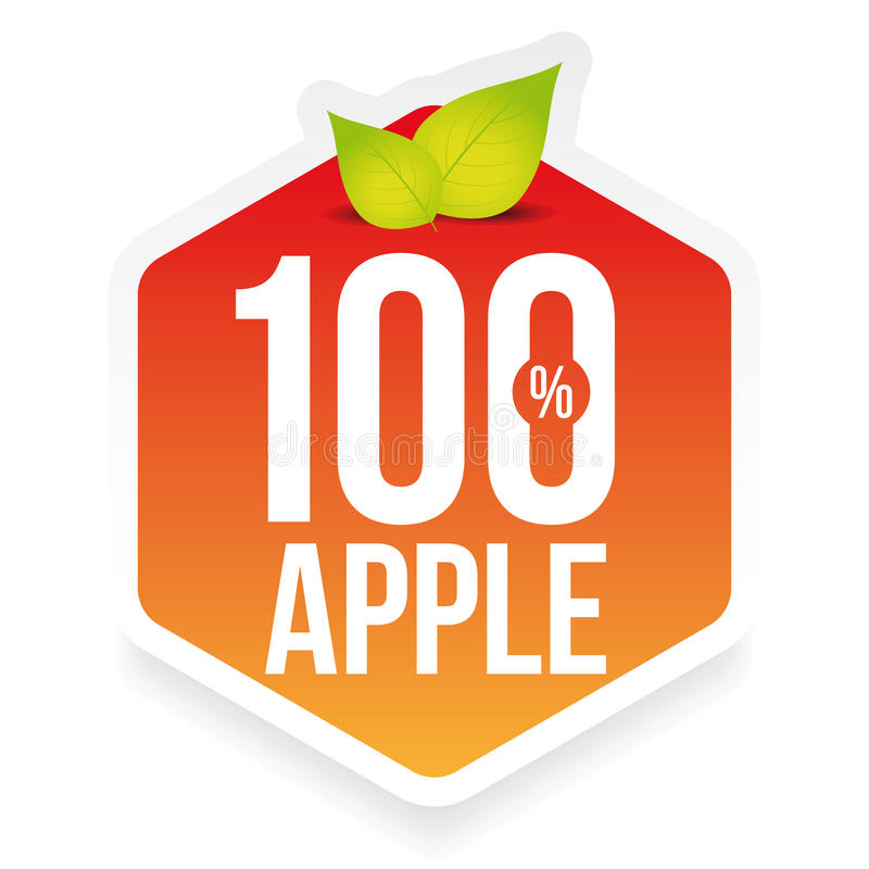 Etiqueta fresca da maçã de cem por cento ilustração stock