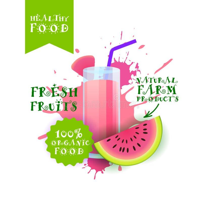 Etiqueta fresca de Juice Logo Natural Food Farm Products de la sandía sobre fondo del chapoteo de la pintura stock de ilustración