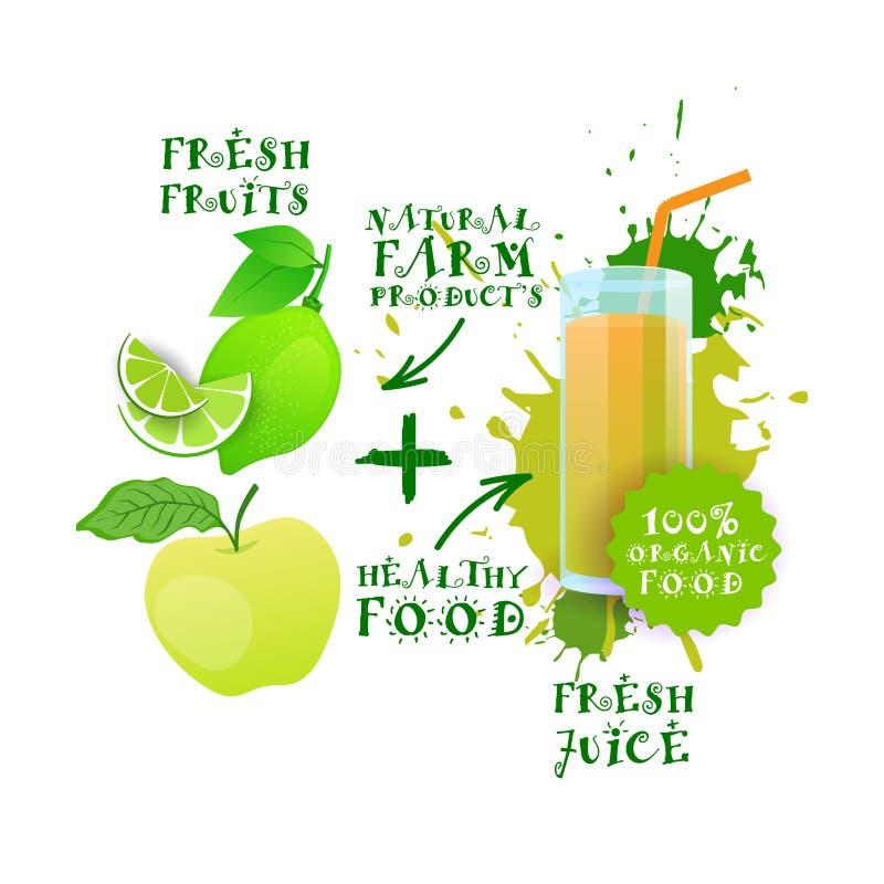 Etiqueta fresca de Logo Natural Food Farm Products de la cal de Juice Healthy Cocktail Apple And ilustración del vector