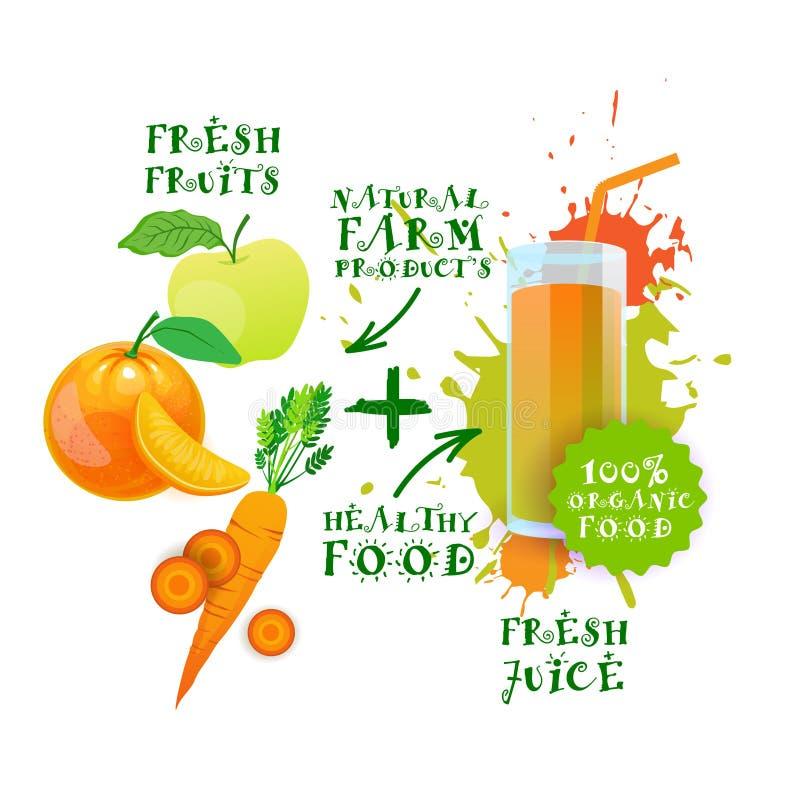 Etiqueta fresca de los productos agrícolas de Juice Logo Healthy Cocktail Natural Food ilustración del vector