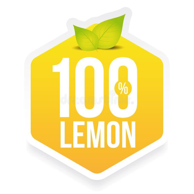 Etiqueta fresca do limão de cem por cento ilustração royalty free