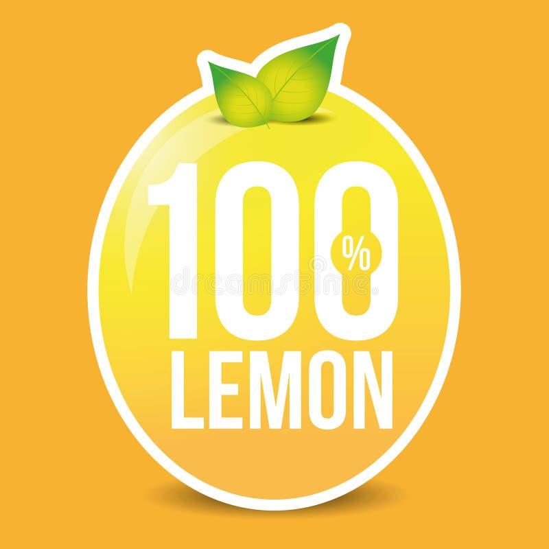 Etiqueta fresca do limão de cem por cento ilustração do vetor