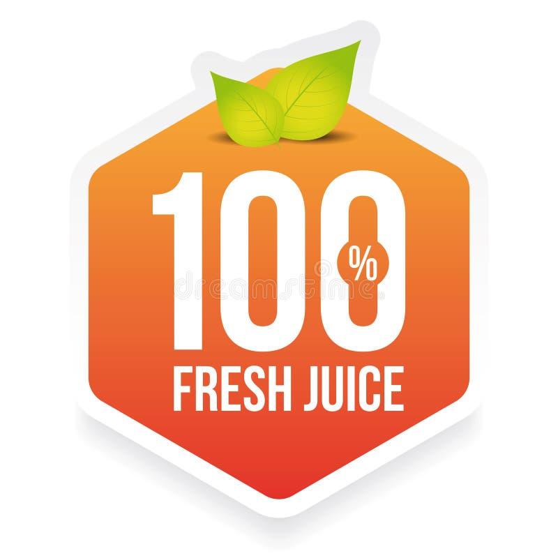 Etiqueta fresca do suco de cem por cento ilustração royalty free