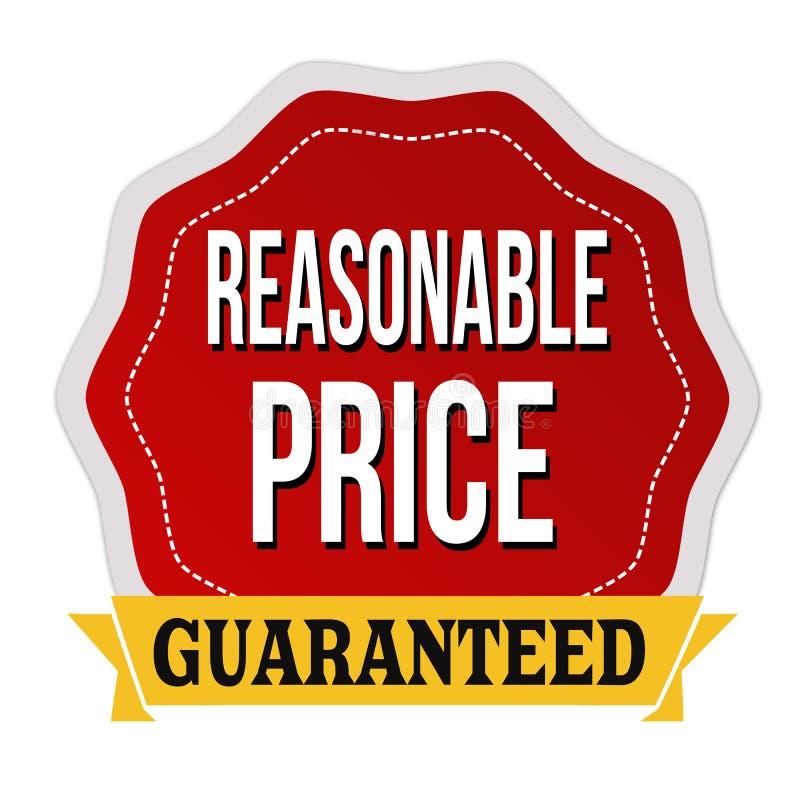 Etiqueta garantizada o etiqueta engomada del precio razonable libre illustration