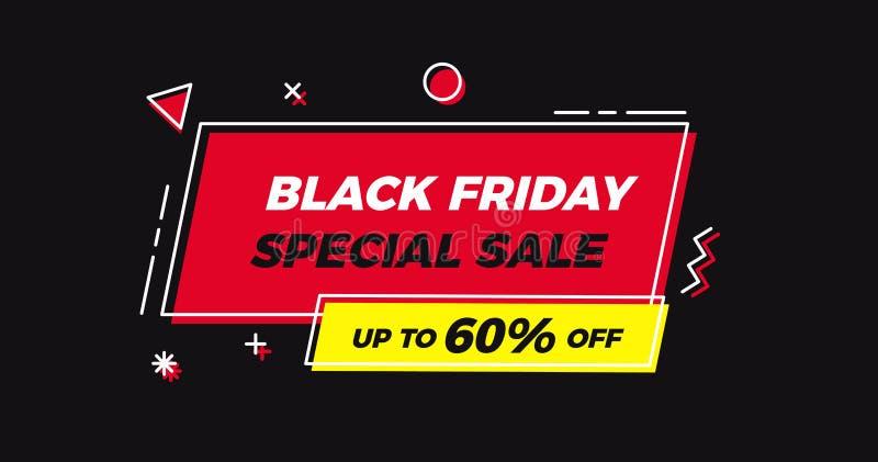 Etiqueta geométrica de la venta especial de Black Friday Fondo plano del ejemplo del vector libre illustration
