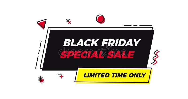 Etiqueta geométrica del marco de la venta especial de Black Friday Fondo plano del ejemplo del vector con formas geométricas abst libre illustration