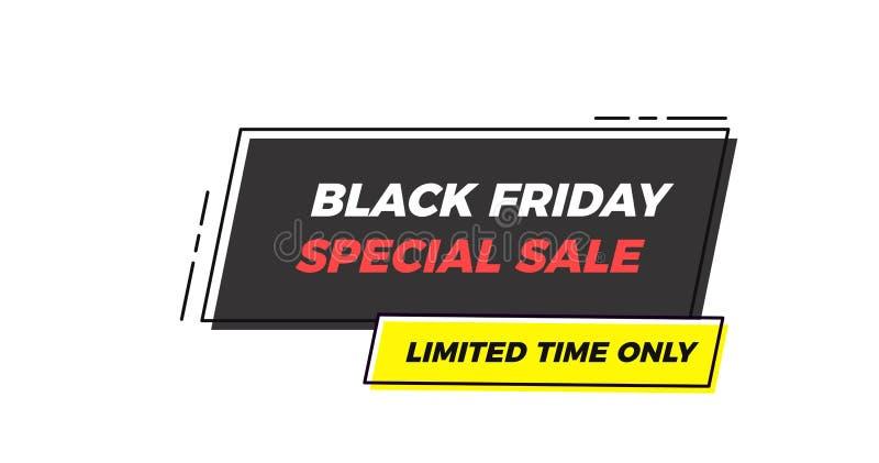 Etiqueta geométrica del marco de la venta especial de Black Friday Fondo plano del ejemplo del vector con formas geométricas abst stock de ilustración