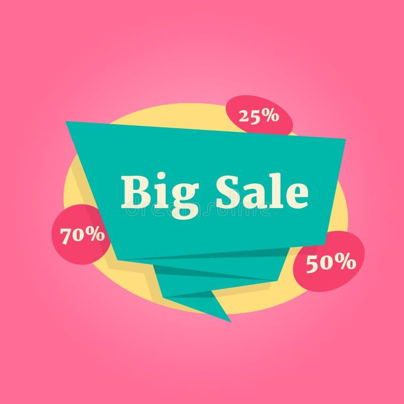 Etiqueta grande de la venta del color aislada en rosa libre illustration
