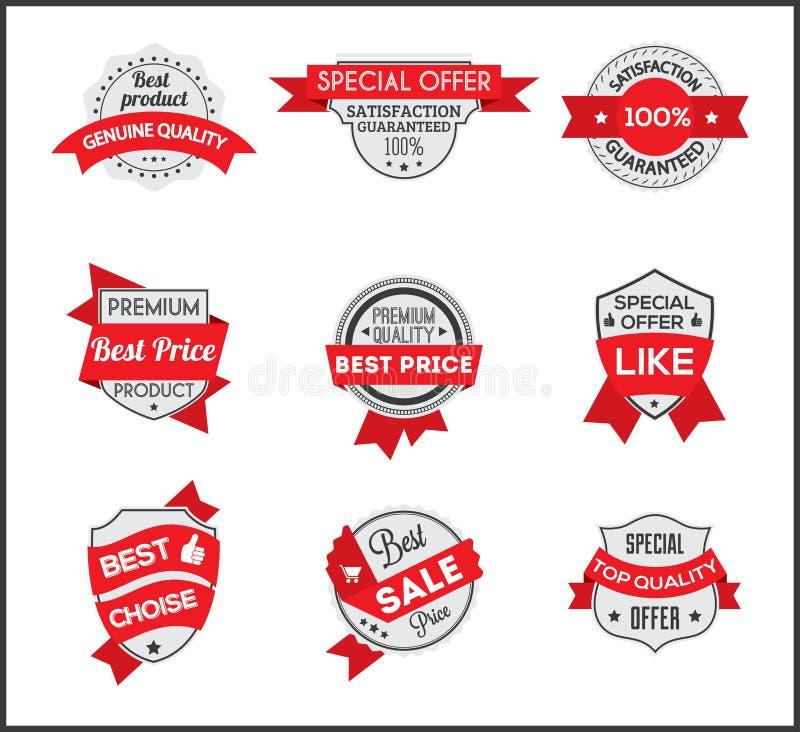 Etiqueta gris y roja del márketing (fije 6) libre illustration