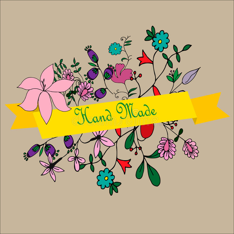 Etiqueta hecha a mano con las flores ilustración del vector