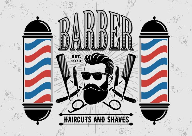 Etiqueta, insignia, o emblema del vintage de la peluquería de caballeros en fondo gris stock de ilustración