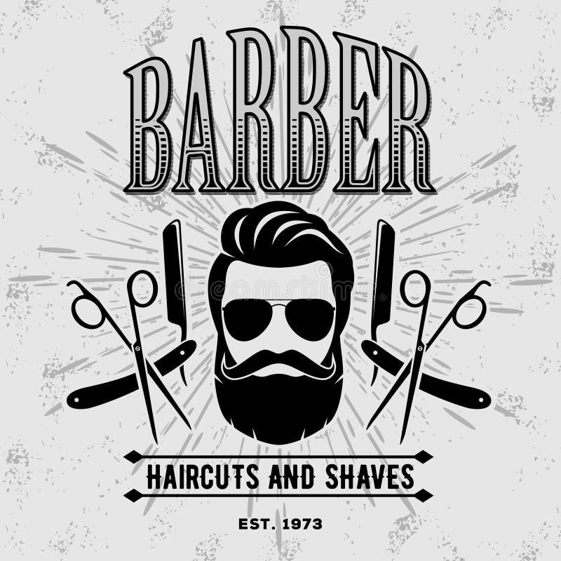 Etiqueta, insignia, o emblema del vintage de la peluquería de caballeros en fondo gris V ilustración del vector