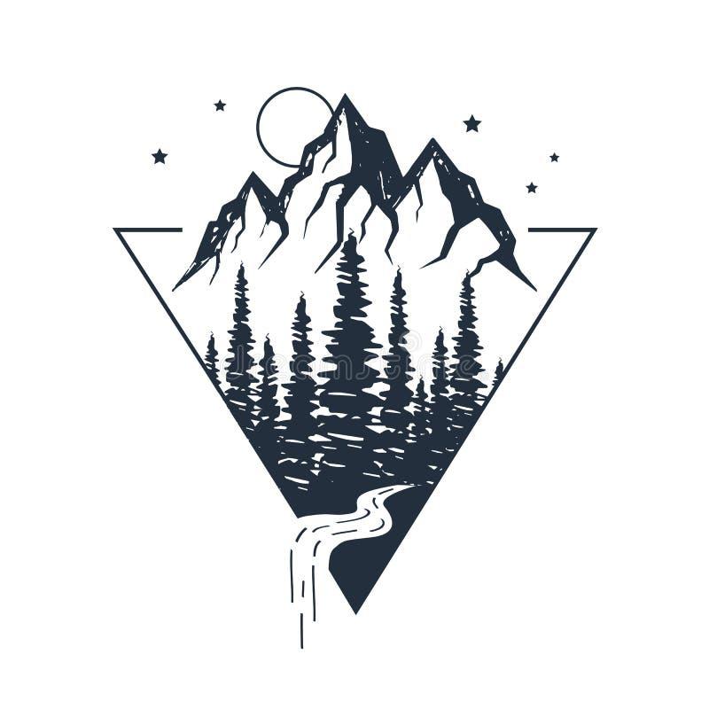 Etiqueta inspirada dibujada mano El viajar a través de la naturaleza salvaje ilustración del vector
