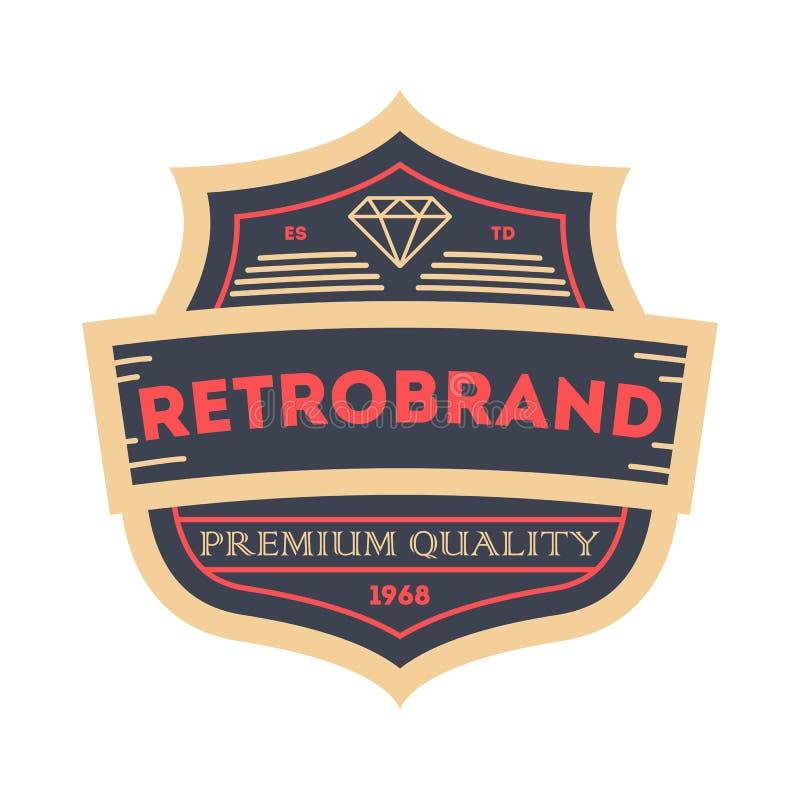 Etiqueta isolada da qualidade retrobrand superior ilustração do vetor