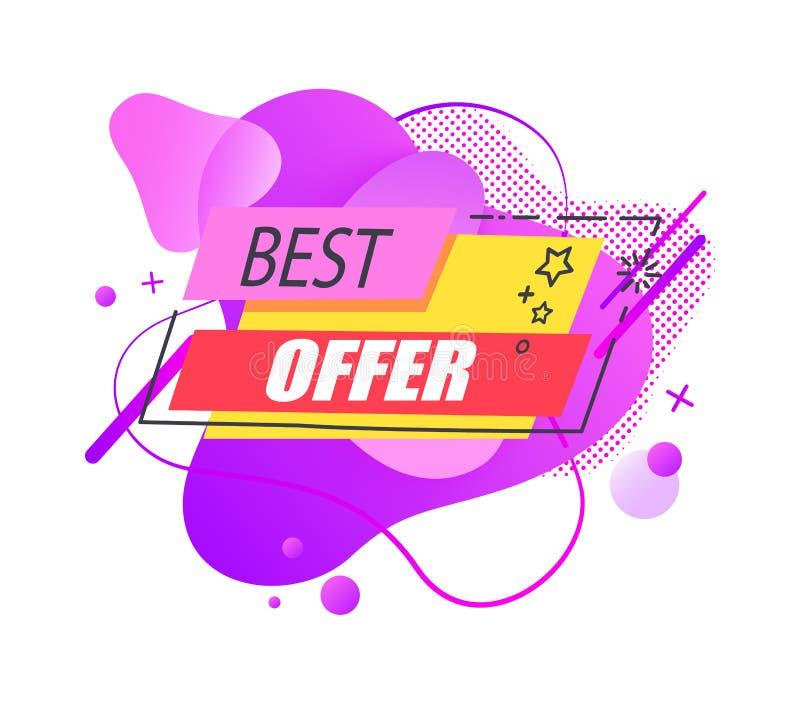 Etiqueta líquida ou etiqueta do melhor vetor da venda da oferta ilustração royalty free