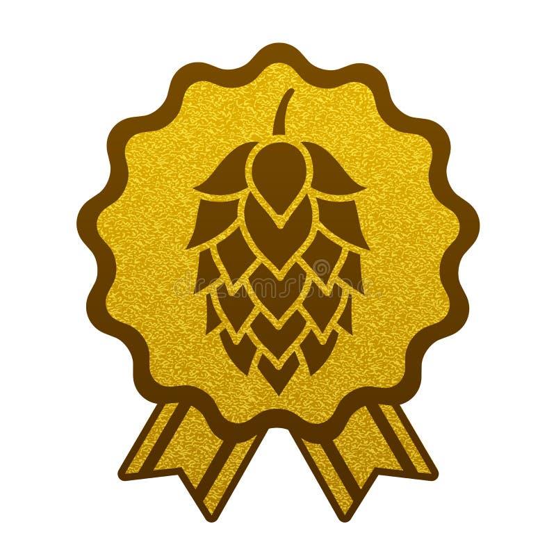 Etiqueta lisa do logotipo do símbolo do sinal da Web do ícone da cerveja da cervejaria do ouro do lúpulo ilustração do vetor