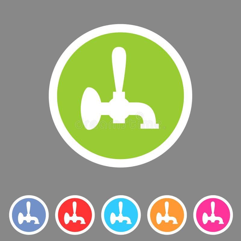 Etiqueta lisa do logotipo do símbolo do sinal da Web do ícone da torneira da cerveja ilustração stock