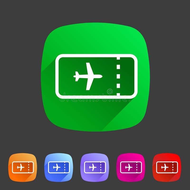 Etiqueta lisa do logotipo do símbolo do sinal da Web do ícone do curso da viagem do bilhete de avião dos aviões ilustração stock