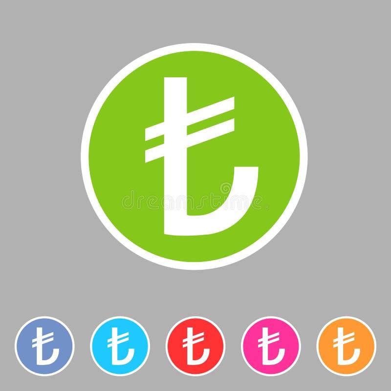 Etiqueta lisa do logotipo do s?mbolo do sinal da Web do ?cone do sinal de moeda da lira turca fotografia de stock royalty free