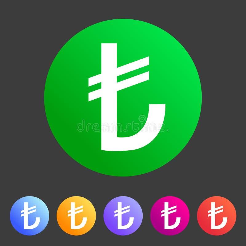 Etiqueta lisa do logotipo do s?mbolo do sinal da Web do ?cone do sinal de moeda da lira turca foto de stock royalty free