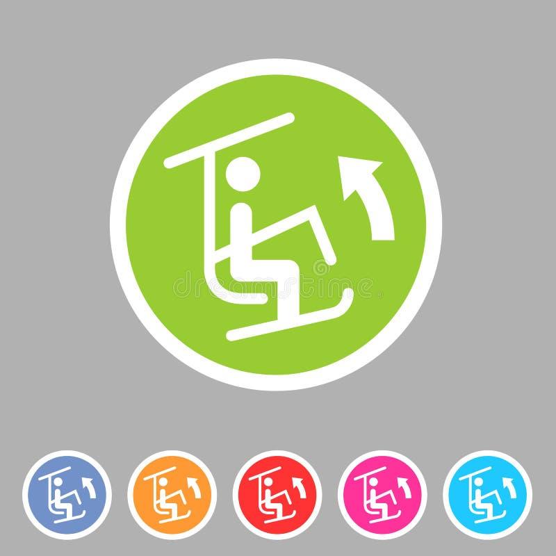 Etiqueta lisa do logotipo do s?mbolo do sinal da Web do ?cone do homem do recurso do elevador de esqui fotografia de stock