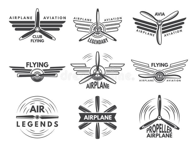 Etiqueta logotipos para a aviação militar Símbolos do aviador no estilo monocromático ilustração royalty free