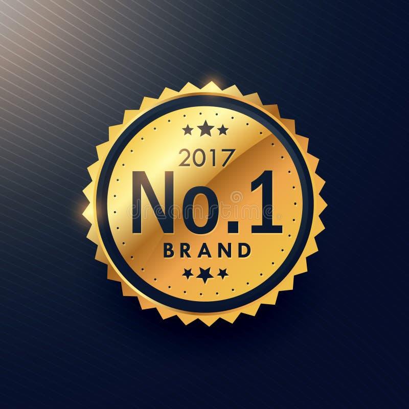 etiqueta luxuosa superior dourada do tipo do número um para anunciar seu b ilustração do vetor