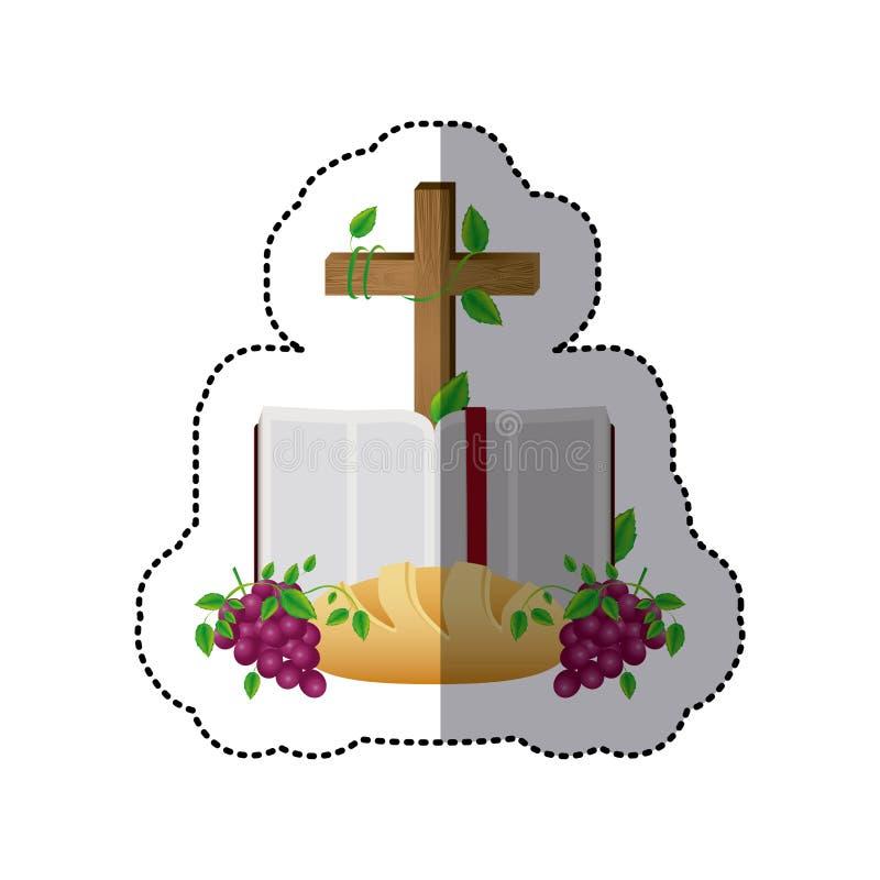 etiqueta média da sombra colorida com a Bíblia Sagrada aberta com cruz e pão e uvas ilustração stock