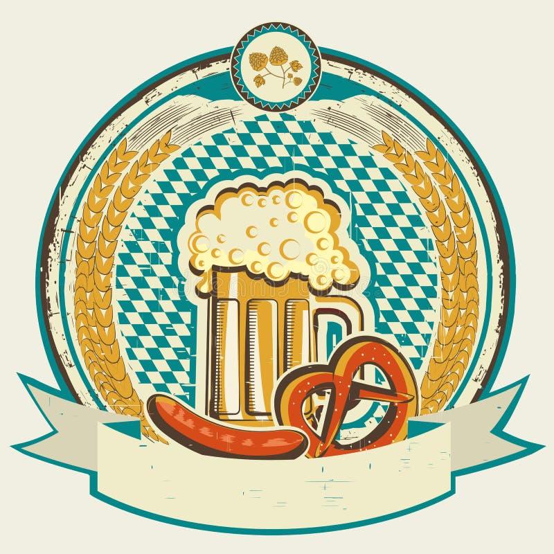 A etiqueta a mais oktoberfest do vintage com cerveja e alimento no ol ilustração do vetor